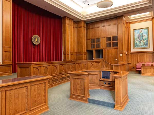 Courtroom for divorce hearing