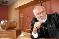 Judge sitting in a courtroom