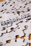 Puzzle pieces with the word family law in blocks on top