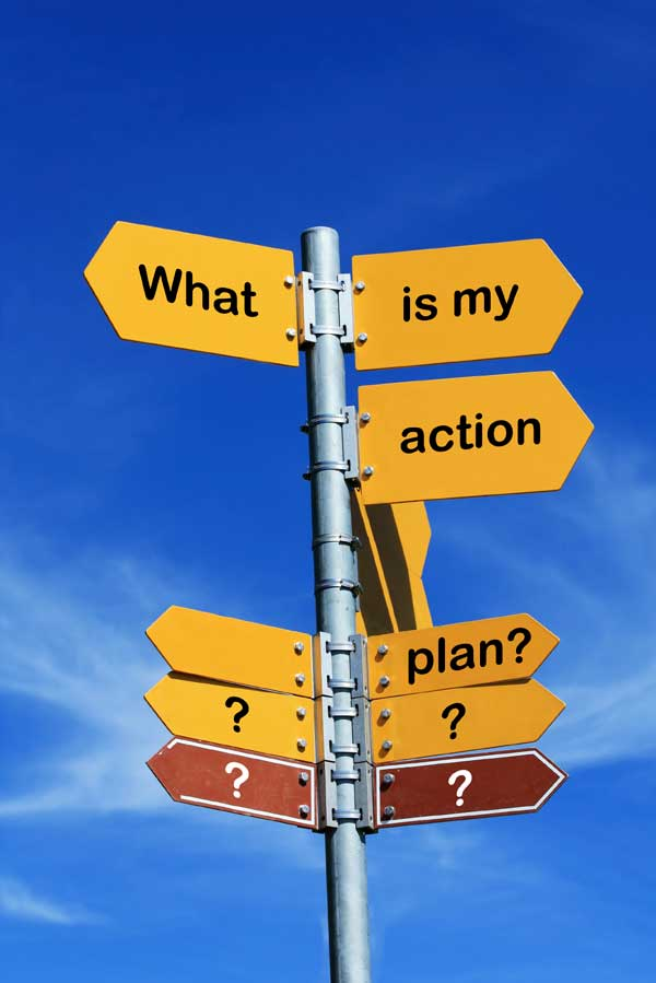 """Sign that says """"what is my action plan?"""" to resolve my divorce"""