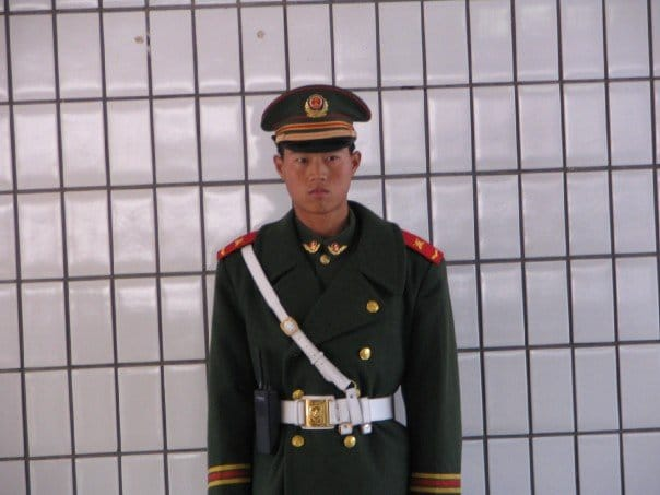 Soldier pushing for supervised access of children