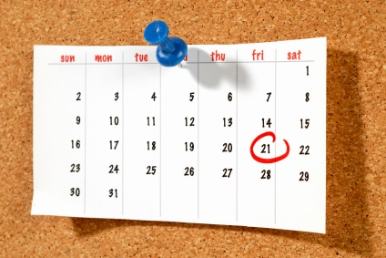 back to school marked on a calendar