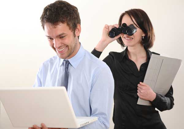 Woman spying on her soon-to-be ex