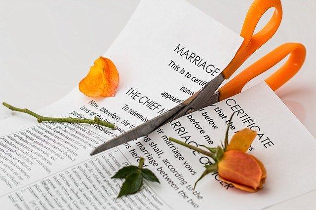 a marriage certificate cut in half